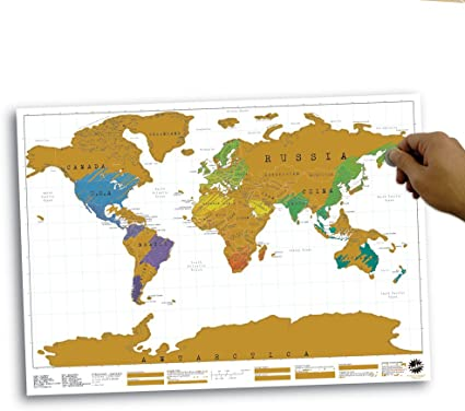 Mapa Vintage para rascar y colgar en la pared Scratch Map grattabile 88 x 52 cm dpax-2164: Amazon.es: Oficina y papelería