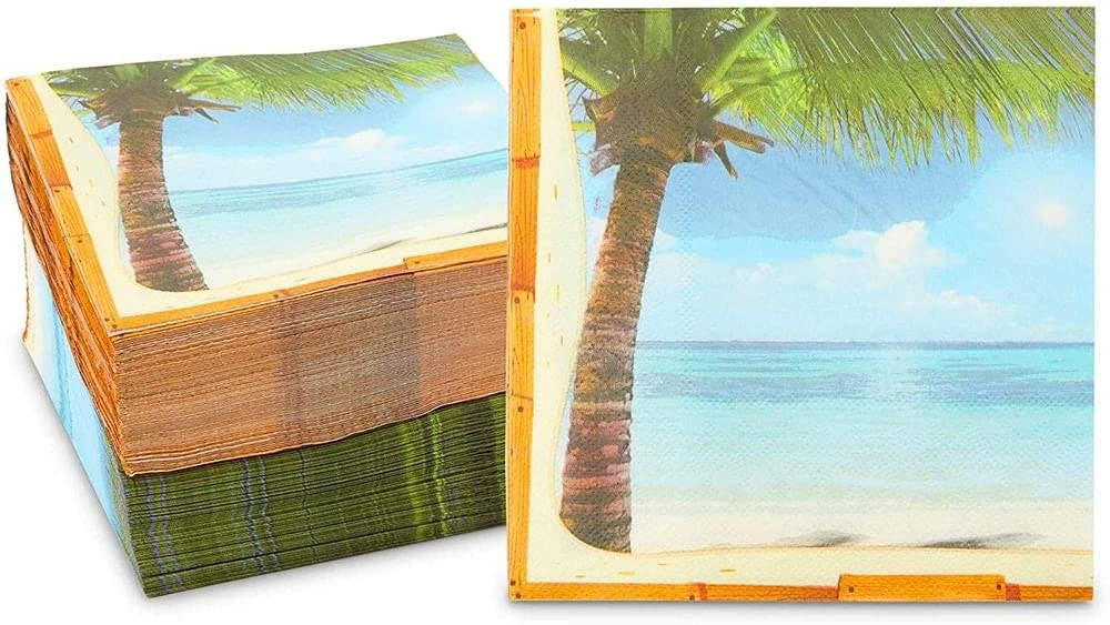 Tropical Paper Napkins for Luau, Hawaiian Party (6.5 x 6.5 Inches, 150 Pack)