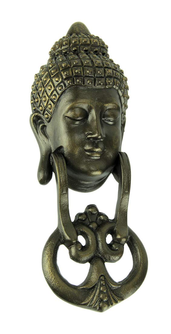 Cast Iron Door Knockers Antique Bronze Metal Buddha Head Door Knocker 3.5 X 10.5 X 2 Inches Bronze