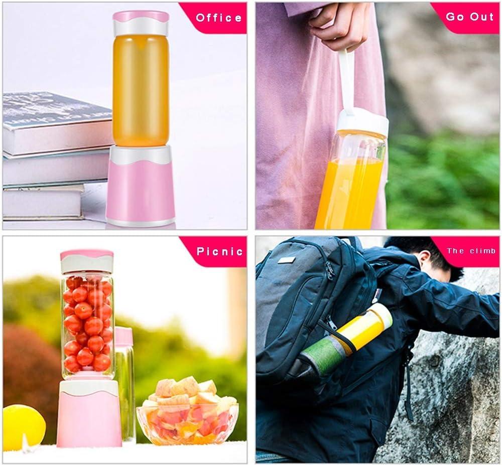 WSSZZ319 Portable Juicer Cup, Mini Juicer, 3 Tipi di Teste di Taglio, 380ML, Adatto per la Cucina di casa, all'aperto, Sport e Viaggi Picnic, ECC (Rosa),4leaves 2leaves