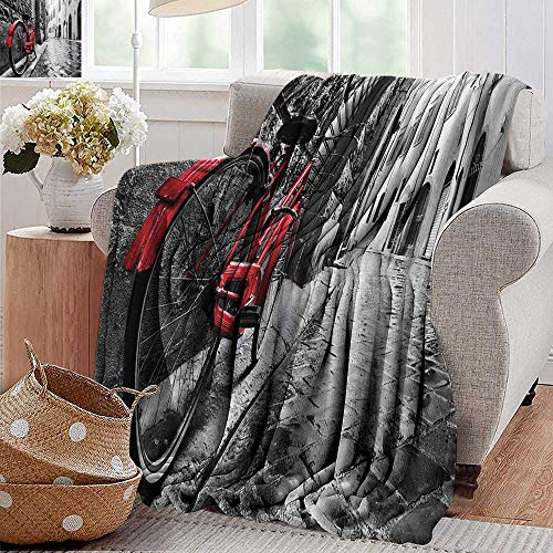 Cool Blanket,Bicycle Decor,Classic Bike on Cobblestone Street in Italian Town Leisure Charm Artistic Photo,Red Black and White,for Bed & Couch Sofa Easy Care 30