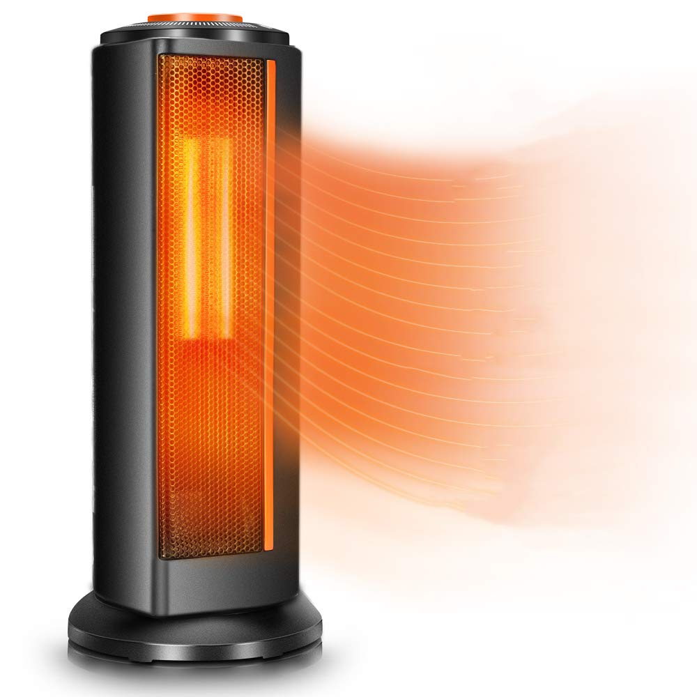 Space Heater Fan for Office – Quiet Portable Oscillating Electric Ceramic Tower Heater w Thermostat, 1500W Fast Heating, Overheat Tip-Over Protection, Ideal for Personal Bedroom Home Indoor Use