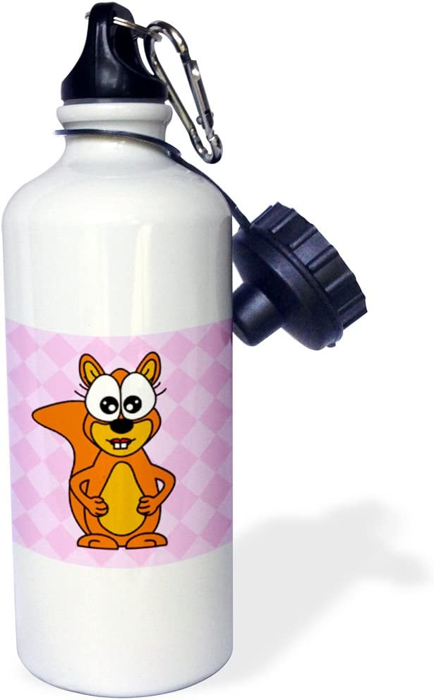 White 21 oz Squirrel-Pink Sports Water Bottle 3dRose wb/_6324/_1 Cute Happy Mrs