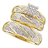 14k Yellow Gold Diamond Cluster Womens Mens Matching Trio Wedding Bridal Ring Set (.25 cttw.) (I2-I3)