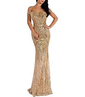 Amazon.com  Women V Neck Sequined Prom Banquet Party Maxi Dress ... 274d736e49ae