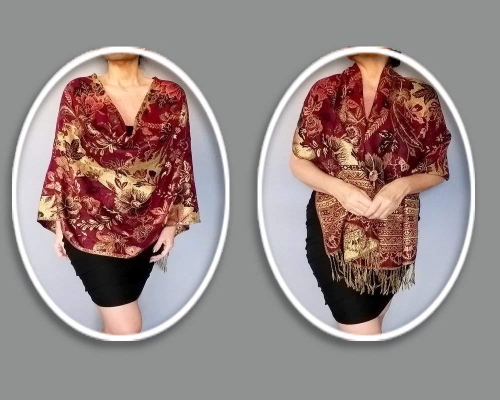3f14b8125f30e Amazon.com  Dark Red Evening Wrap Metallic Gold Shawl Dressy Holiday Wear  By ZiiCi  Handmade