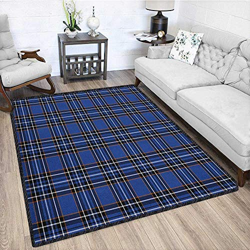 Plaid Ultra Soft Indoor Area Rugs,Traditional Vivid Pattern Design from Scotland Country Ornate Abstract Plaid Print Durable and Resistant to Soiling Multicolor 79