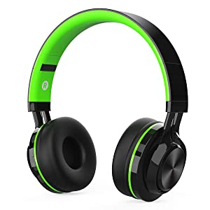Kids Headphones, Children Wireless Bluetooth Foldable Headphones Over Ear, Hi-Fi Stereo Boys Girls Adults Headphones Built-in Microphone Compatible with MP3 Gift School Airplane Smartphones(Green)
