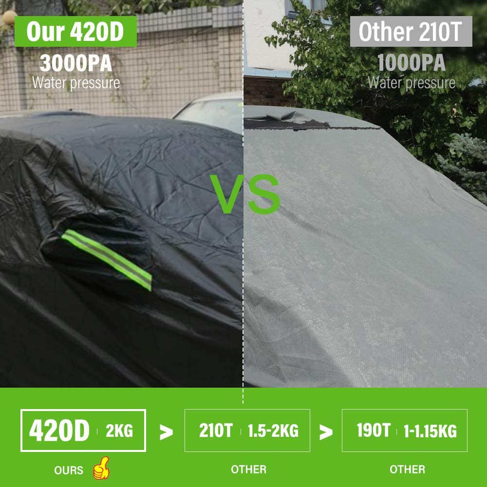 Car Cover Sedan Universal Fit Up to 172 Inch Waterproof All Weather Sun UV Dustproof Windproof Scratch Resistant Protection Full Vehicle Cover 177 L x 69 W x 59 H