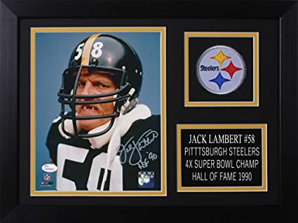 f48f48b8647 Jack Lambert Autographed Steelers Photo - Beautifully Matted and Framed -  Hand Signed By Jack Lambert