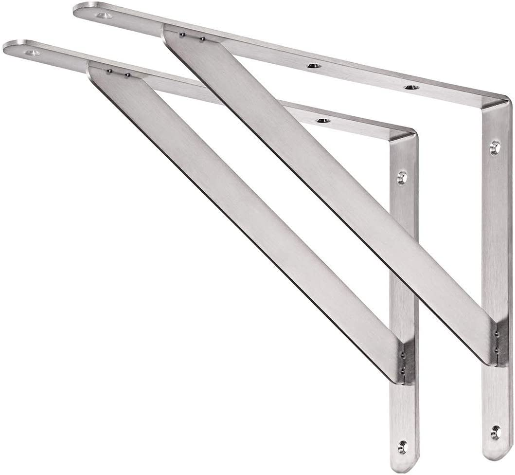 "CUZURLUV Shelf Bracket, 16"" Max Load: 550 lb Heavy Duty Stainless Steel Bracket for Table Bench, Space Saving DIY Bracket, Pack of 2"