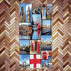 FashSam Soft Towel England City Red Telephone Booth Clock Tower Bridge River British Flag with Flowers/3d Printing/Water Absorption/Multipurpose