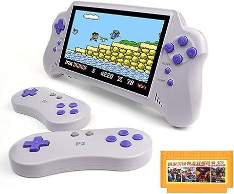 LJ2 Consola de Juegos portátil, Consola de Mano 4K HD Pantalla de 7 Pulgadas Consola de Juegos Retro Compatible con Salida de TV HDMI/Juego de 2 Jugadores para GBA/NES/para Regalo de niños: