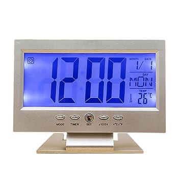 Despertador Digital Bloomma Reloj Despertador LCD Controlado Hora fecha Temperatura y sonar (blanco): Amazon.es: Hogar
