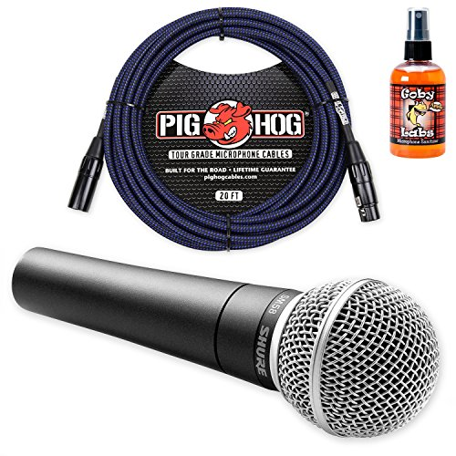 Shure SM58 Cardioid Vocal Microphone & Pig Hog 20ft XLR Mic Cable & Sanitizer (Blue) by Shure