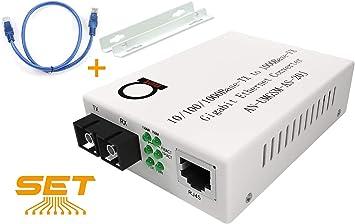 Multimode Gigabit Fiber Media Converter LLF Support Built-In Fiber Module 2 km 1.24 miles Auto Sensing Gigabit or Fast Ethernet Speed to UTP Cat5e Cat6 10//100//1000 RJ-45 Jumbo Frame SC