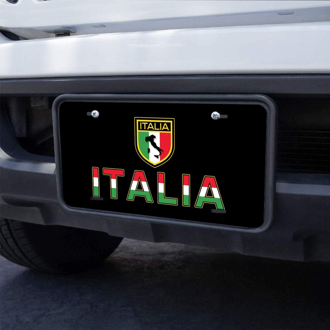 WONDERTIFY License Plate Italy Flag and Italian Letter on The Black Background Decorative Car Front License Plate,Vanity Tag,Metal Car Plate,Aluminum Novelty License Plate,6 X 12 Inch 4 Holes