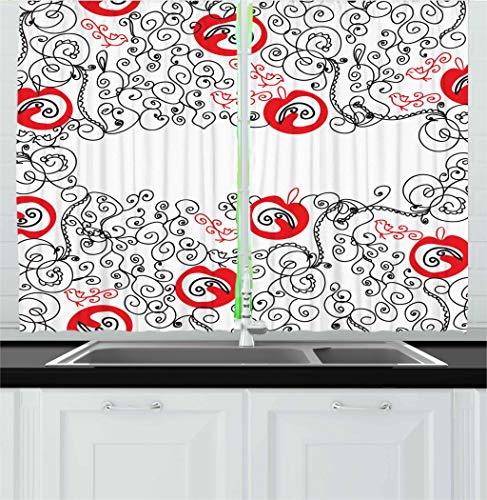 red black kitchen curtains