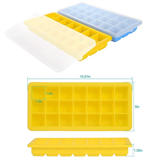 Adoric Mint Blue & Rose - Bandeja de silicona para cubitos de hielo de grado alimenticio, moldes de hielo apilables para hacer tú mismo Truffles, Ganache, ...