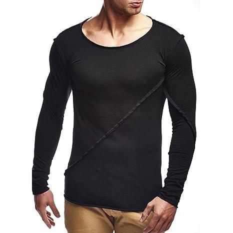 Camisas hombre Los hombres de manga larga de color puro de costura suelta camiseta tops de