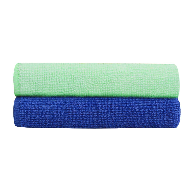 Bathla Spic & Span Multi Purpose Micro Fiber Cleaning Cloth - 300 GSM: 60cmx40cm (Pack of 2 - Dark Blue + Light Green)