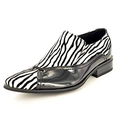 9862b66995 My Perfect Pair Mens Leather Lined Pointed Winkle Pickers Striped Zebra  Print Shoes Size 12  Amazon.co.uk  Shoes   Bags