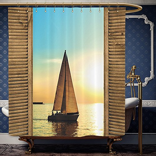 Wanranhome Custom-made shower curtain Sea Life Nautical Beach Ocean Decor Sailboats in Scenic Sunset by Wooden Window Frames Yellow and Blue For Bathroom Decoration 48 x 78 inches