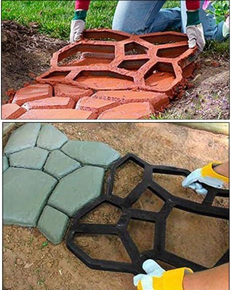 HomDSim - Molde para Hacer Caminos, Reutilizable, para hormigón, Cemento, diseño de Piedra, pavimento, pavimento, Bricolaje, Personalizado, para jardín, Patio, césped, Entrada: Amazon.es: Jardín