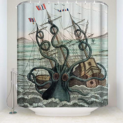 (Leotear Fabric Shower Curtain Set with Hooks Waterproof Polyester Bath Curtains for Bathroom Showers and Bathtubs, Octopus Pirate Ship Custom Ocean Sail Boat (36x72 inch))