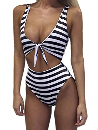 009cb5dbfa8 Inorin Womens High Waisted Sexy Cut Out One Piece Striped Swimsuit Backless  Front Tie Bikini Bathing Suits