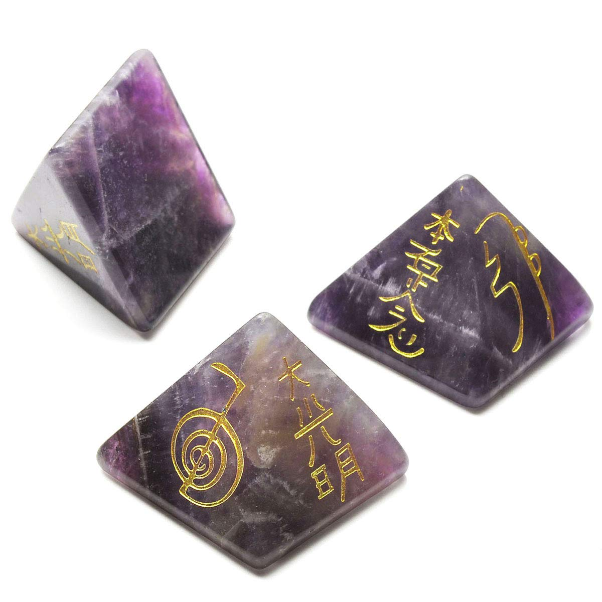 CrystalTears Usui Reiki Symbols Pyramid-Lapiz Lazuli w//Etched Reiki Symbols Healing Crystal Stone