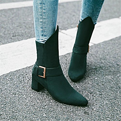 NVXIE Women's Ladies Short Boots Rough High Heel Pointed Toe Scrub Belt Buckle Black Wine Red Fall Winter Party Work GREEN-EUR41UK758 fBOw86