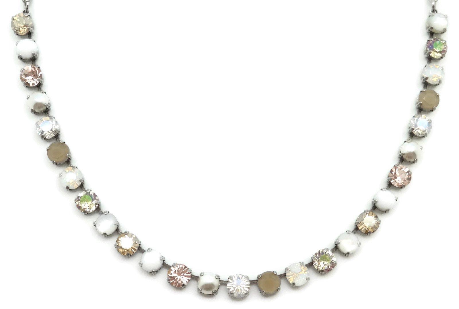Mariana Swarovski Crystal Silver Plated Necklace Peach White Taupe Strand M1078 Kalahari