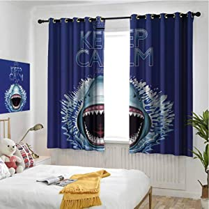 hengshu Sea Animals Blackout Curtains for Bedroom Keep Calm and Shark Jaws Attack Predators Hunter Dangerous Wild Aquatic Nature Thermal Insulated Soundproof Curtain W62 x L84 Inch Blue White