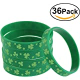 BESTOMZ Shamrock Bracelets Green Silicone Rubber for St. Patrick's Day 36 Pieces