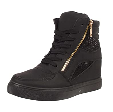 de63da767fddb LADIES WOMENS DIAMANTE WEDGE HEEL PLATFORM GOLD ZIP HI TOP ANKLE TRAINERS  BOOTS (UK 3