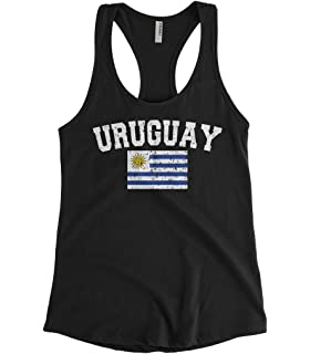 Cybertela Womens Faded Distressed Uruguay Flag Racerback Tank Top