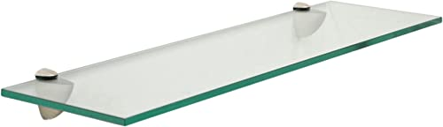 Floating Glass Bathroom Shelf Finish Brushed Steel, Size 30 W x 6 D