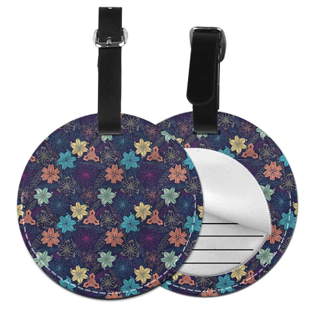 Favorite brand luggage tags Floral,Exotic Blooms Foliage Tag Portable Women