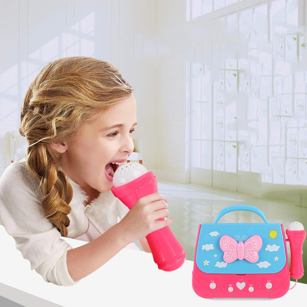 WDDH Kids Karaoke Machine,Portable Musical Bag with Microphone Karaoke Player Toys for 3-6 Year Old Girls,Birthday Present Toys for Girls by WDDH (Image #3)