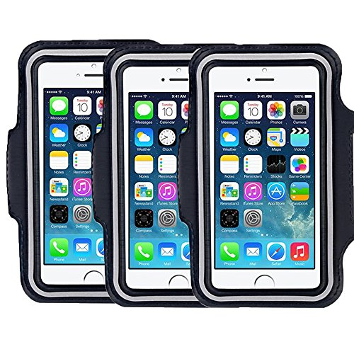 SweatProof Armband for Big Phones, [3 Pack] CaseHigh Shop for iPhone 6S/6/5S/5/5C/4/4S & Galaxy S5/S6 Plus S7 LG G5 V10 V7 for Running & Workouts for Men & Women Sweat-Resistant Design (Black)