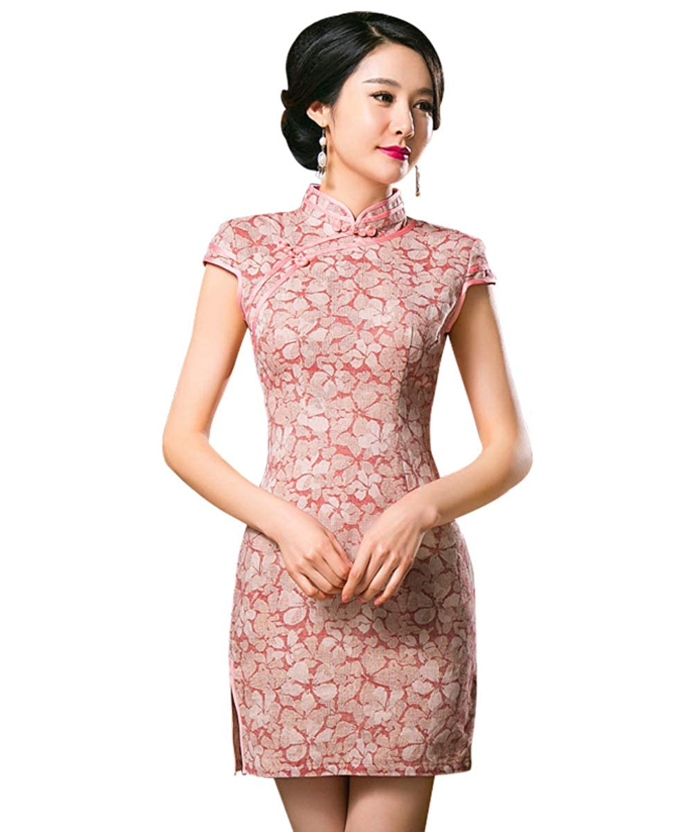 Wincolor Women's Vintage Chinese Traditional Cheongsam Short Sleeve Floral Qipao Dress