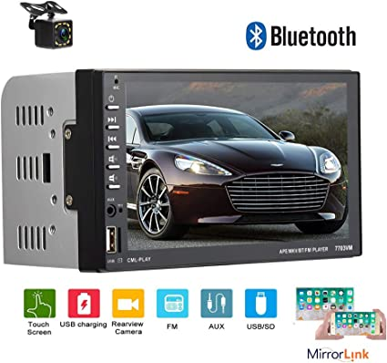 7 inch Double Din Touch Screen Car Stereo with Bluetooth MP5 Player Head Unit Support AUX//FM//TF//USB with Wireless Remote and Camera