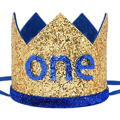 (Maticr Glitter Baby Boy First Birthday Crown Number 1 Headband Little Prince Princess Cake Smash Photo Prop (Large Gold & Royal)