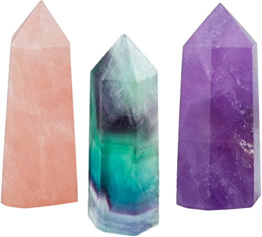 Natural Rock Fluorite Crystal Wand Point Energy Stone 4.1-4.9cm Pointed /& Faceted Prism Obelisk for Reiki Chakra Meditation Therapy Gift Home Wedding Party Decor Chakra Healing Crystal Stone Wand