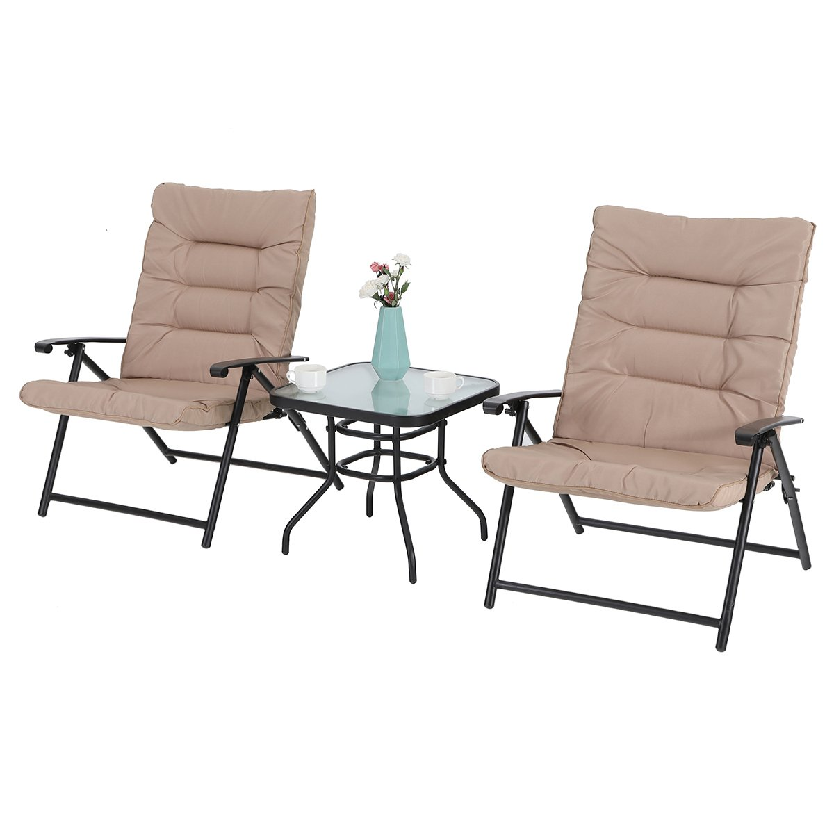PHI VILLA Patio 3 PC Padded Folding Chair Set Adjustable Reclining 2 Position, Beige