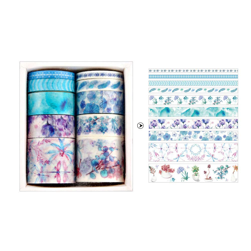 10 rollos de cinta adhesiva decorativa de patrones m/últiples suministros decorativos para manualidades de cinta decorativa para bricolaje Kitchen-dream Set de rollos de cinta washi cinta adhesiva