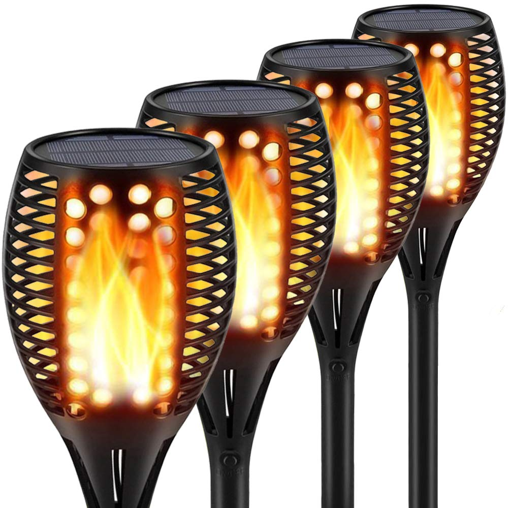 Topmante Upgraded Solar Lights 96 LED 42.9 Inch, Waterproof Flickering Flames Torches Lights Outdoor Solar Spotlights Landscape Lighting Dusk to Dawn Auto On/Off Security Torch Light (4 Pack)