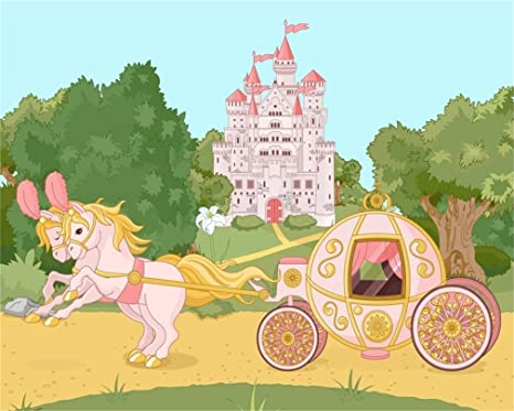 AOFOTO 10x8ft Cartoon Fairy Tale Castle Photography Background Beautiful Pumpkin Carriage Horse Backdrop Forest Trees Kid