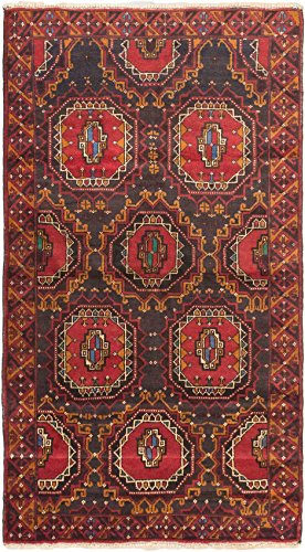 Ecarpetgallery Hand-Knotted Royal Balouch Red 100% Wool Traditional Area Rug from eCarpet Gallery
